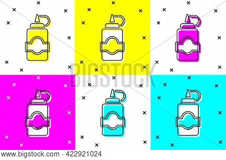 Set Sauce Bottle Icon Isolated On Color Background. Ketchup, Mustard And Mayonnaise Bottles With Sau