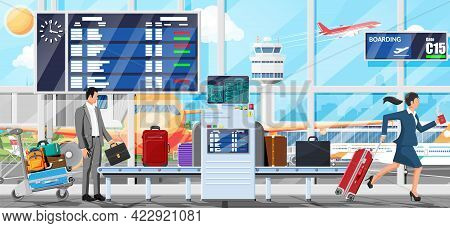 Airport Security Scanner Interior. Conveyor Belt With Passenger Luggage. Baggage Carousel Scan With