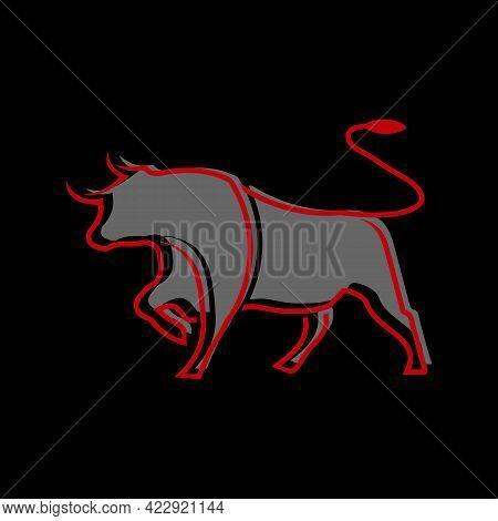 Illustration Vector Graphic Of Minimalist Bull Logo