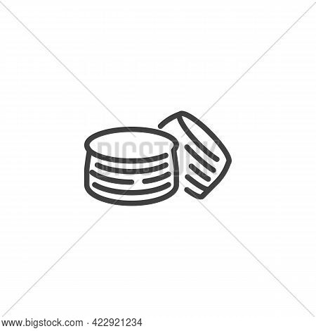 Crepes Bread Line Icon. Linear Style Sign For Mobile Concept And Web Design. Pancakes Outline Vector