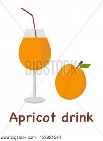 Apricot Drink In A Glass With The Inscription Apricot Drink For The Menu Or Banner