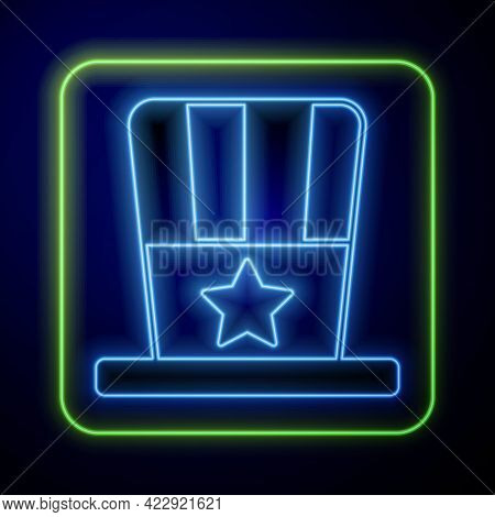 Glowing Neon Patriotic American Top Hat Icon Isolated On Blue Background. Uncle Sam Hat. American Ha