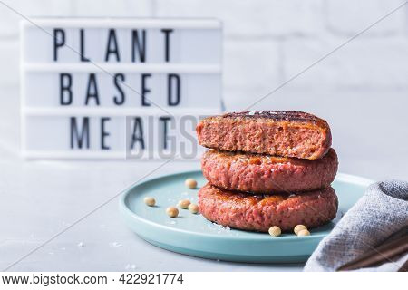 Burgers Made From Plant Based Meat, Food Reducing Carbon Footprint