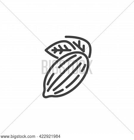 Cocoa Bean Line Icon. Linear Style Sign For Mobile Concept And Web Design. Cocoa Pod Outline Vector