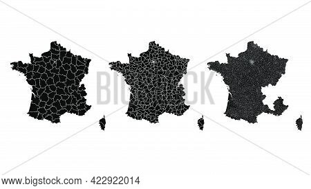 France Map Municipal, Region, State Division. Administrative Borders, Outline Black On White Backgro