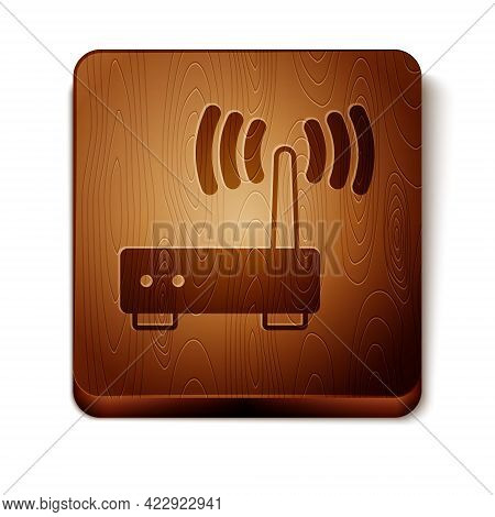 Brown Router And Wi-fi Signal Icon Isolated On White Background. Wireless Ethernet Modem Router. Com