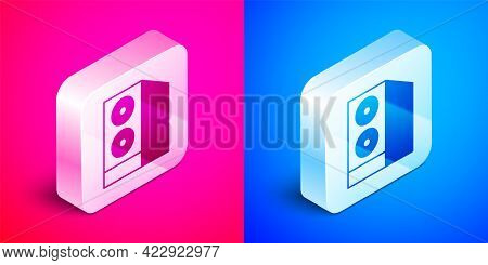 Isometric Case Of Computer Icon Isolated On Pink And Blue Background. Computer Server. Workstation.