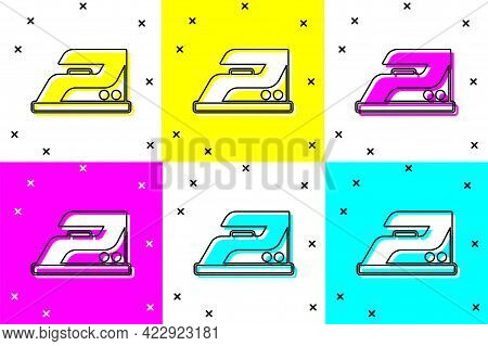 Set Electric Iron Icon Isolated On Color Background. Steam Iron. Vector