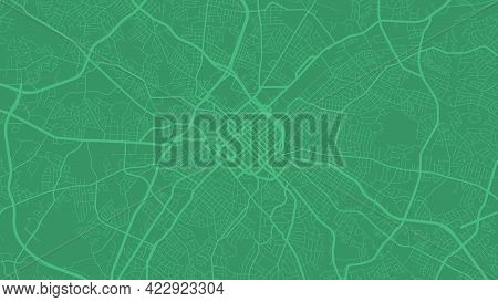 Green Charlotte City Area Vector Background Map, Streets And Water Cartography Illustration. Widescr