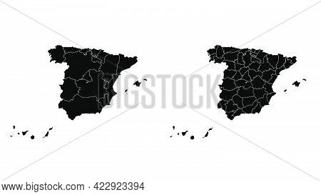 Spain Map Municipal, Region, State Division. Administrative Borders, Outline Black On White Backgrou