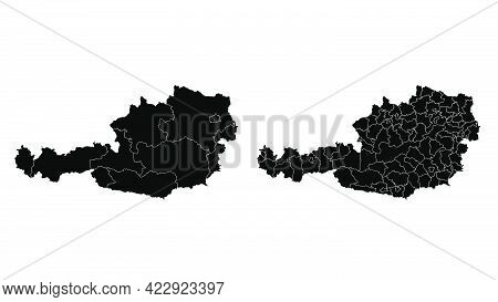 Austria Map Municipal, Region, State Division. Administrative Borders, Outline Black On White Backgr