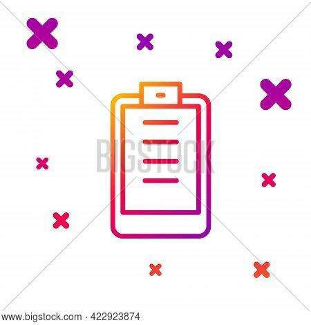 Color Line Clipboard With Checklist Icon Isolated On White Background. Control List Symbol. Survey P