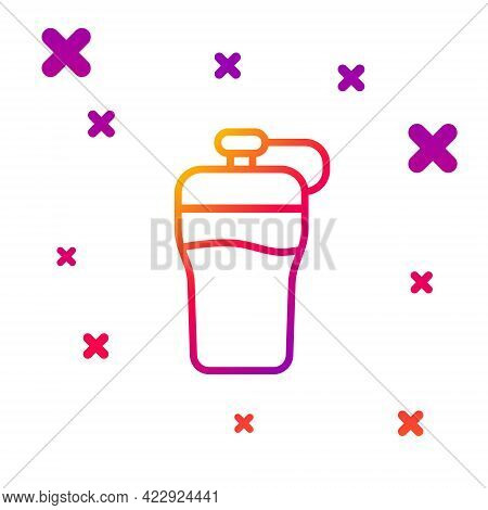 Color Line Fitness Shaker Icon Isolated On White Background. Sports Shaker Bottle With Lid For Water