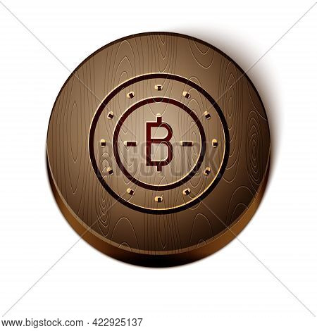 Brown Line Cryptocurrency Coin Bitcoin Icon Isolated On White Background. Physical Bit Coin. Blockch