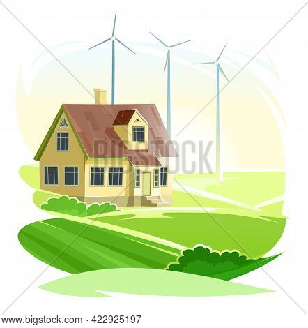 Wind Power Generator. Country House. Cartoon Flat Style. Isolated Background. An Environmentally Fri