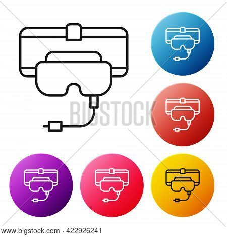 Black Line Virtual Reality Glasses Icon Isolated On White Background. Stereoscopic 3d Vr Mask. Set I