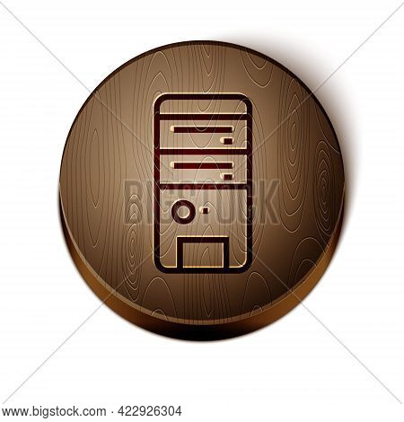Brown Line Computer Icon Isolated On White Background. Pc Component Sign. Wooden Circle Button. Vect