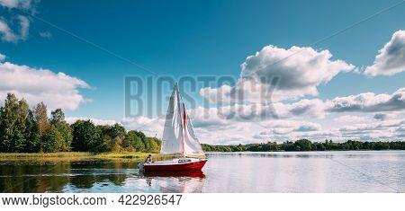 Novoe Lyadno, Beloozerny District, Vitebsk Region, Belarus - September 20, 2020: Man Sailing On Moto