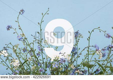 Number Nine Among Blue Flowers On Blue Background. Birthday, Anniversary, Jubilee Concept. For Invit