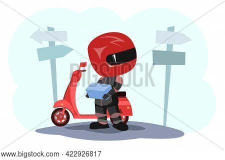 Scooter Driver. Biker Cartoon. Child Illustration. Lost. In A Sports Uniform And A Red Helmet. Cool