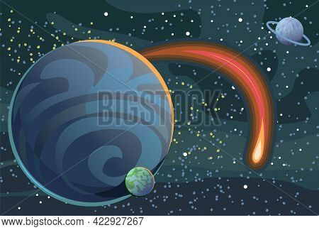 Cosmos Background. Starry Sky Landscape. Planets And Their Satellites. A Bright Comet. Flat Style. C