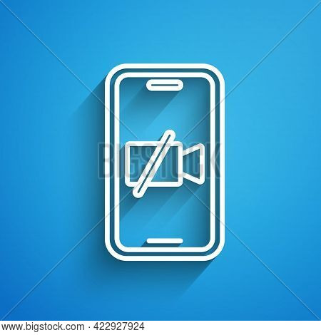 White Line Video Camera Off On Mobile Screen Icon Isolated On Blue Background. No Video. Long Shadow