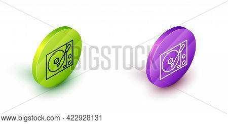 Isometric Line Vinyl Player With A Vinyl Disk Icon Isolated On White Background. Green And Purple Ci
