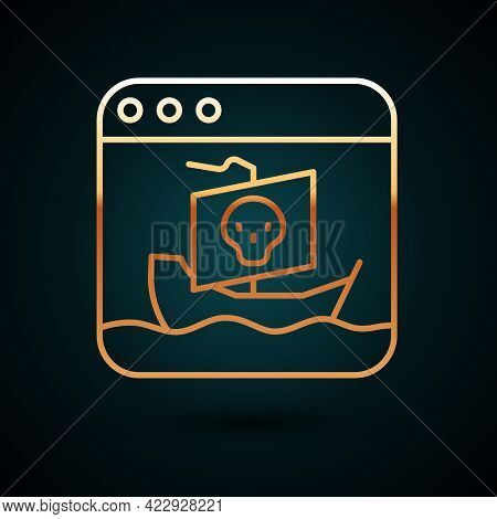 Gold Line Internet Piracy Icon Isolated On Dark Blue Background. Online Piracy. Cyberspace Crime Wit