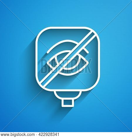 White Line Blindness Icon Isolated On Blue Background. Blind Sign. Long Shadow. Vector