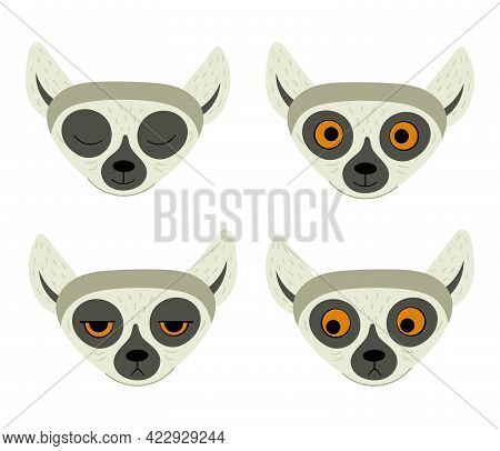 Set Of Exotic Cute Lemur. Animals Of Madagascar And Africa. Vector Childrens Illustration In Flat St