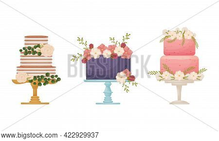 Creamy Tier Cake Decorated With Flowers And Twigs Standing On Pedestal Cake Plate Vector Set