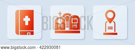 Set Grave With Tombstone, Holy Bible Book And Location Grave. White Square Button. Vector