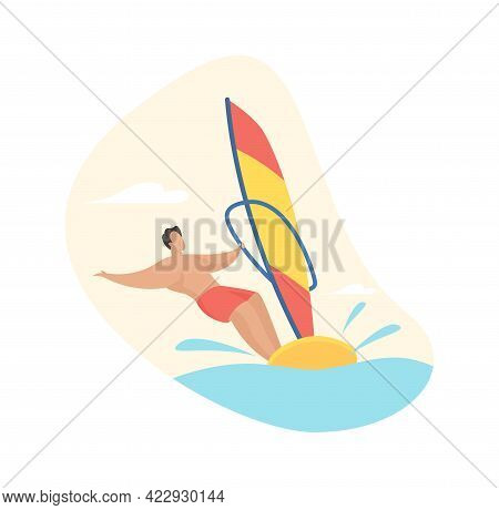 Extreme Windsurfing. Man In Shorts Rushes Over Waves Board With Sail. Fun Speed Adventure Tropical V
