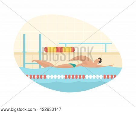 Speed Swimming In Pool. Muscular Man Swims Fast In Crawl Style. Training Competition And Rescue Serv