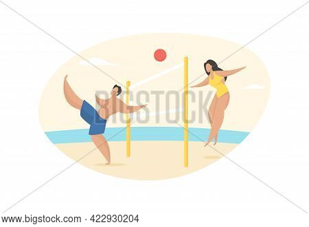 Beach Footvolley With Ball. Girl Throws Catch Over Net And Guy Kicks It. Active Rest On Seaside. Fun