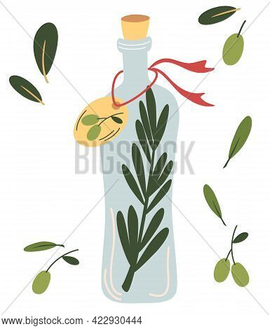 Glass Bottle With Olive Oil. Olive Fruit, Branches Tree And Olive Oil Bottle. Vegan Diet. Perfect Fo
