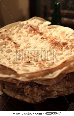 Dried Flat Bread On Plate For Khash