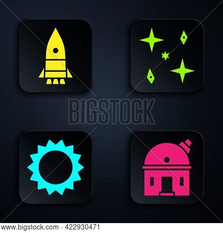 Set Astronomical Observatory, Rocket Ship, Sun And Falling Stars. Black Square Button. Vector