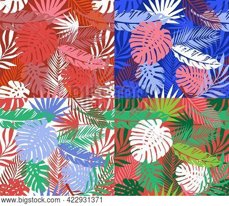 Abstract Art Nature Background Vector Set Palm Monstera Leaves Patchwork. Modern Tropical Summer Fol