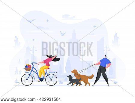 People Walking And Relaxing On Street Vector Illustration. Man Walks Purebred Dog On Leash. Joyful W