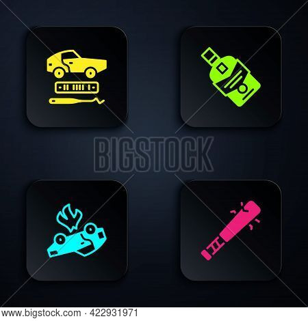 Set Baseball Bat With Nails, Car Theft, Burning Car And Whiskey Bottle. Black Square Button. Vector
