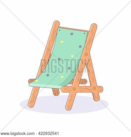 Sun Lounger Icon For Summer Vacation. Vector Illustration In Cartoon Style Isolated On White Backgro