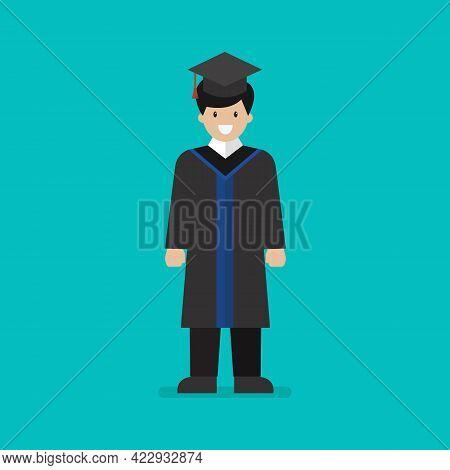 High School Graduate Flat Style. Vector Illustration