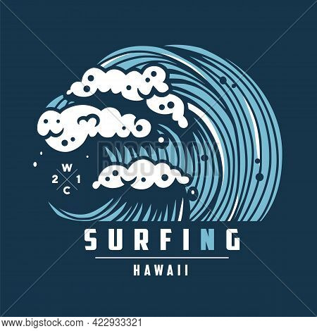 Hawaii Wave With Foam. Surfing Marine Ocean Tide