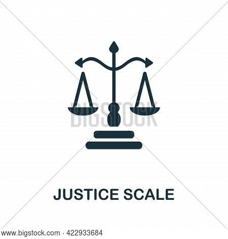 Justice Scale Icon. Monochrome Simple Element From Civil Rights Collection. Creative Justice Scale I