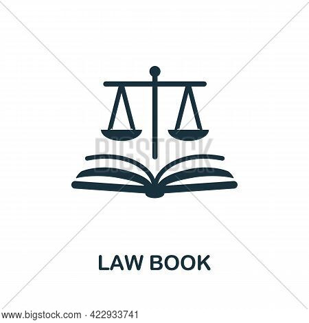 Law Book Icon. Monochrome Simple Element From Civil Rights Collection. Creative Law Book Icon For We