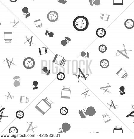 Set Washer, Water Spray Bottle, Iron And Ironing Board And On Seamless Pattern. Vector