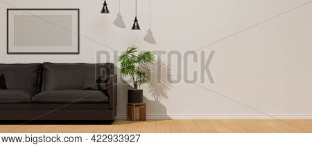 Living Room Interior Design With Sofa, Plant Pot, Lamp And Mock-up Frame Decorated In The Room, 3d R