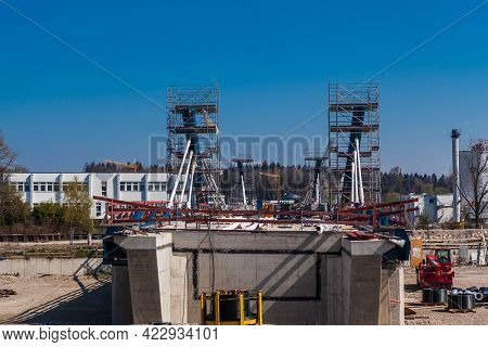 Rosenheim, Germany - 25 April 2021: This Is Where The New Aicherpark Bridge Is Being Built