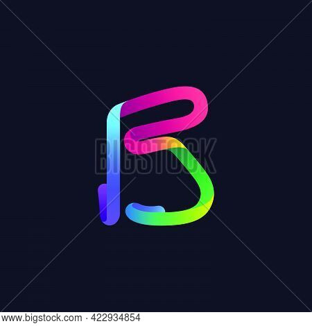B Letter Logo Made Of Multicolor Gradient Neon Line. Vector Bright Icon For Multimedia Labels, Night